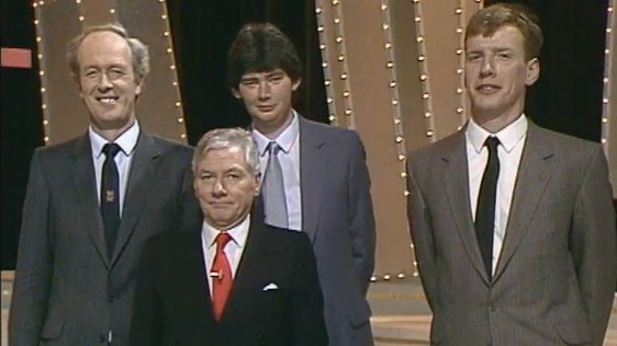 Contenders for the title of Tallest Man in Ireland with Gay Byrne (1987)