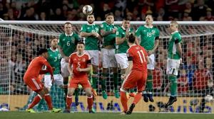 Gareth Bale takes a free kick