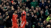 Neil Taylor was red-carded for his challenge on Seamus Coleman
