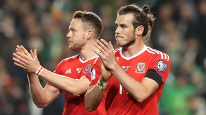 Gareth Bale applauds the travelling Welsh fans