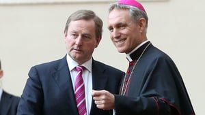 Enda Kenny and his wife Fionnuala (not pictured) are welcomed by the prefect of the papal household Georg Gaenswein