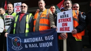 Workers picket outside Busáras in Dublin