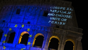 The European Union flag is projected on the Colosseum to mark 60th anniversary of signing the Treaty of Rome