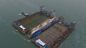 Ferry was hauled onto a giant lifting ship