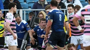 Ross Molony emerges from a sea of bodies after his decisive try