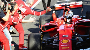 Sebastian Vettel celebrates his win at the Australian Grand Prix
