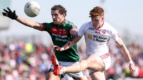 Tyrone's Conor Meyler in action against Tom Parsons of Mayo