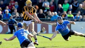 Kilkenny's Colin Fennelly is tackled by Rian McBride and Eoghan O'Donnell of Dublin