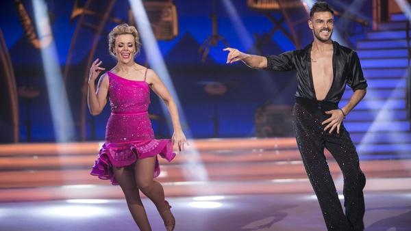 Denise and Ryan giving it socks on the DWTS dancefloor