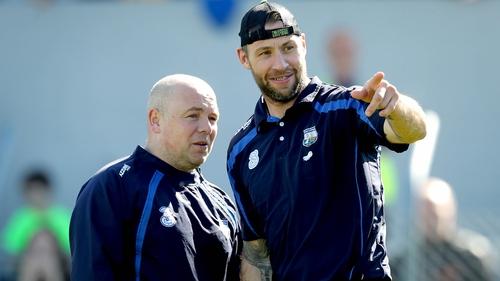 Waterford boss Derek McGrath confers with selector Dan Shanahan