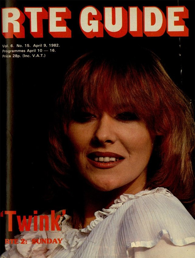 Twink on the cover of the RTÉ Guide on 9 April 1982