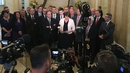 Arlene Foster and DUP MLAs address the media at Stormont