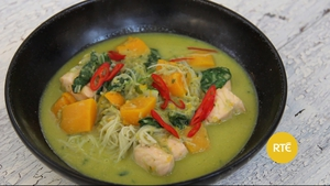 The Dublin Cookery School show us how to whip up a delicious dinner of pumpkin laska with salmon and pak choy.
