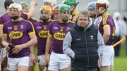 Davy Fitzgerald walks away from his players as they get ready for throw-in against Offaly earlier in the season