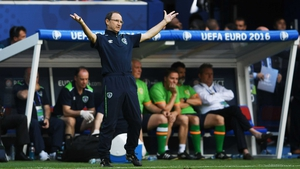 An animated Martin O'Neill during the match against Wales