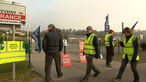 Bus Éireann workers protest outside the station in Letterkenny, Donegal