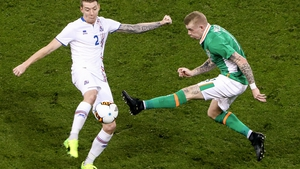 James McClean with Birkir Mar Saevarsson