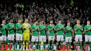 The Republic of Ireland players ahead of kick-off against Iceland