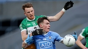 Dublin's Dan O'Brien with Ronan McEvoy of Offaly at O'Moore Park