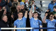 Dublin co-captains Con O'Callaghan and Cillian O'Shea raise the trophy