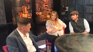 Vogue Williams with her new beau Spencer Matthews on the set of Brendan O'Connor's Cutting Edge