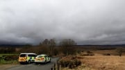 Police man a roadblock in Trawsfynydd, close to where the wreckage has been discovered