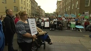 Hundreds of people took part in the protest outside Leinster House