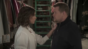 "Victoria Beckham and James Corden in ""Mannequin"""