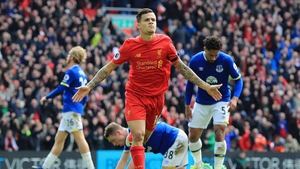 Philippe Coutinho celebrates his goal at Anfield