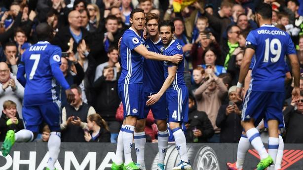 Chelsea celebrate Cesc Fabregas' opener
