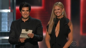 David Copperfield with fellow presenter Nancy O'Dell - Magic legend also does a nice line in satire