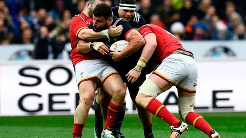 French prop Rabah Slimani (C) came back on in the 81st minute against Wales