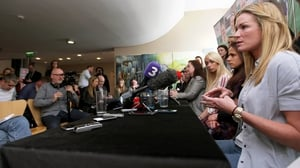 Ireland captain Emma Byrne addresses the media at Liberty Hall