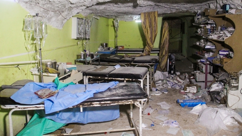 Destruction at a hospital room in Khan Sheikhun following the suspected toxic gas attack