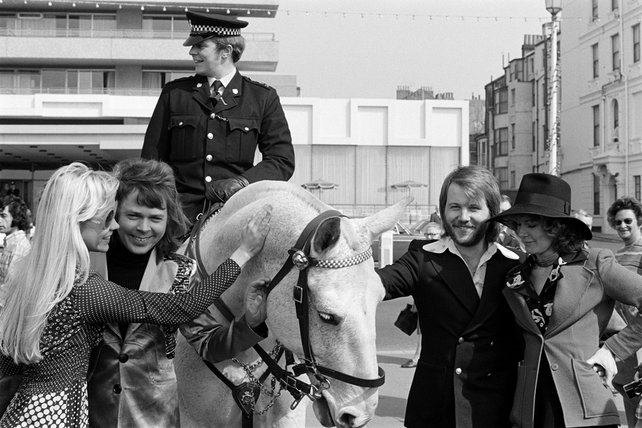 BBA pose with a mounted policeman (1974)