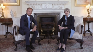 Donald Tusk and Theresa May pictured before their meeting