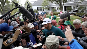 Dustin Johnson talks to reporters at Augusta