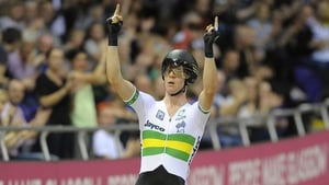 Cameron Meyer celebrates victory in the Men's Points Race at the UCI Track Cycling World Cup last year