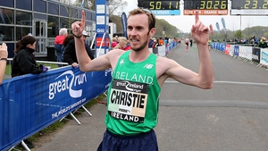 Mullingar Harriers' Mark Christie celebrates his win in the Phoenix Park