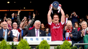 Galway's Gary O'Donnell lifts the trophy