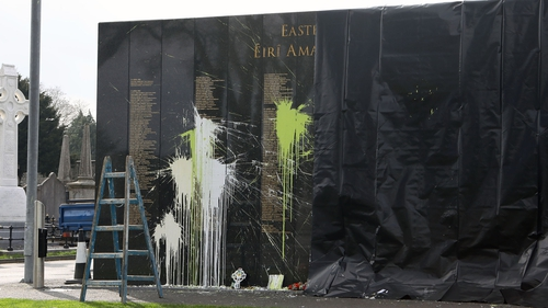 Paint was thrown on the wall, which is officially called the Necrology Wall, during the night