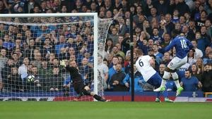 Romelu Lukaku firing home his second goal of the day