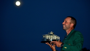Sergio Garcia looks to the heavens after winning his first Major