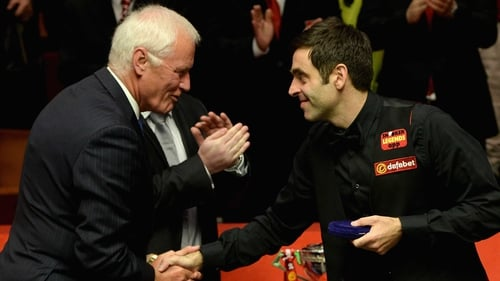 Barry Hearn and Ronnie O'Sullivan after the 2014 World Championship final, which O'Sullivan lost to Mark Selby