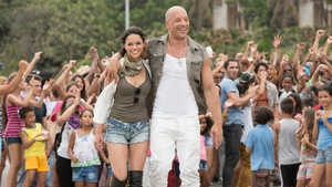 Michelle Rodriguez and Vin Diesel in Fast & Furious 8