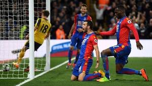 Luka Milivojevic celebrates Crystal Palace's third goal