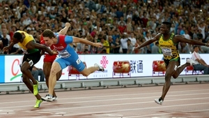 Sergey Shubenkov takes first in the 110m hurdles final at the 2015 World Championships