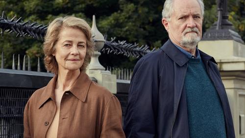 Charlotte Rampling and Jim Broadbent in posh London in The Sense of an Ending