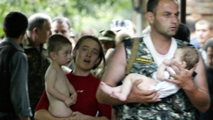 Two children seen being released from the school during the 2004  siege
