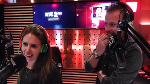 "Jenny Greene with co-host Nicky Byrne - ""Nicky doesn't care what it's called, same as I don't care"""